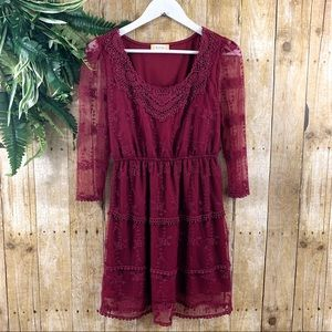 Altar'd State • Burgundy Lace Mini Dress Size S